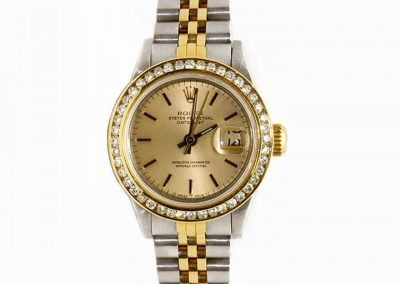 $5600 Women's 1988 18K Gold Two-Tone Datejust 1 CTW Channel set Diamond Bezel with Quickset I-7797