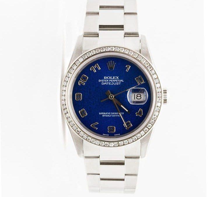 Men's Stainless Steel Datejust Blue Anniversary Dial 1CT Diamond Bezel 1995