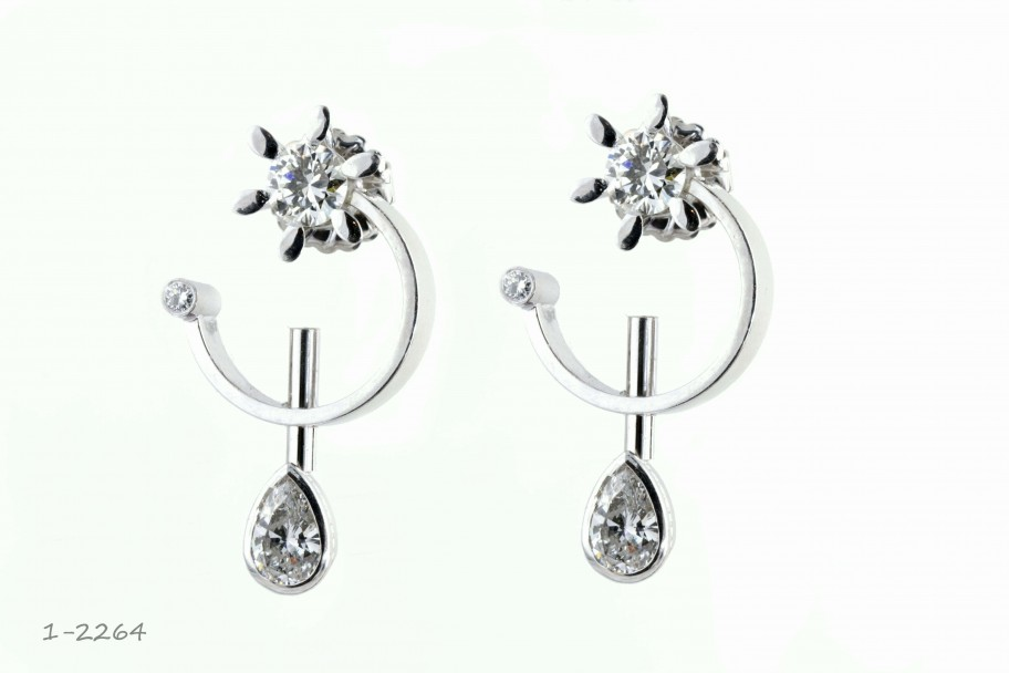 14KT White Gold 3.76 CTW Round Pear Drops Earrings  I-2264