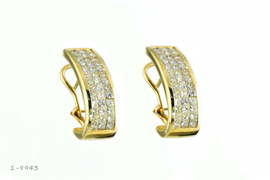 Westchester Gold 18KT Yellow Gold Diamond 5 CTW Earrings with Omega Back I-9943