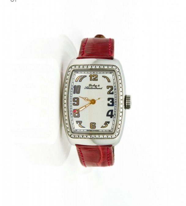 I-16205 $2500 Stainless Steel Dubey and Schaldrebran Diamond Bezel with Burgandy Leather