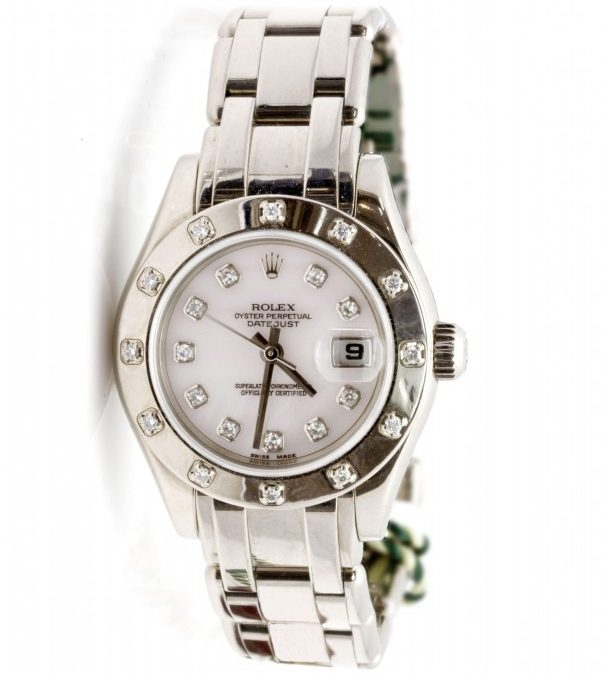 Ladies 18 Kt White Gold 12 Diamond Bezel Mother of Pearl Dial  Pearl Master 2005 1/2