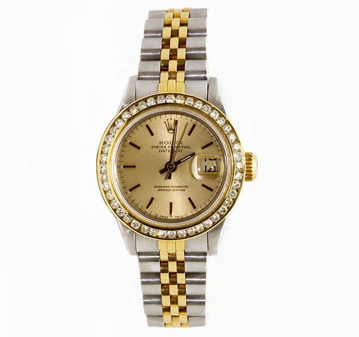 $5600 Women's 1988 18K Gold Two-Tone Datejust 1 CTW Channel set Diamond Bezel with Quickset I-7797