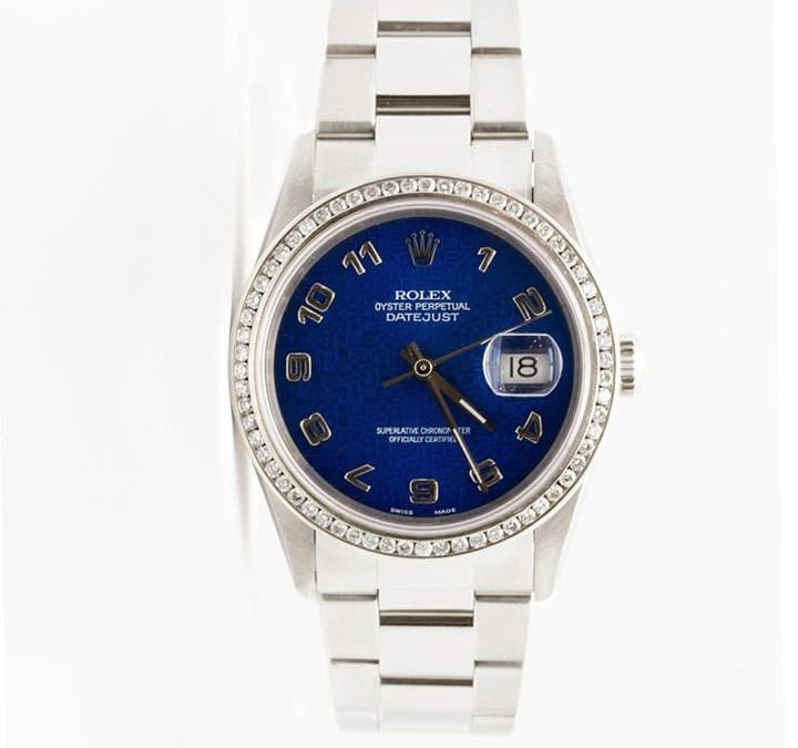Men's Stainless Steel Datejust Blue Anniversary Dial 1CT Diamond Bezel 1995