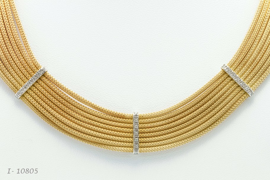 Westchester Gold 14K Two Tone Gold and Diamond Multi-strand Necklace I-10805 $6696