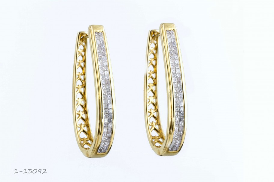 Westchester Gold 14KT Yellow Gold 2 CTW Princess Diamond Oval Hoop Earrings I-13092