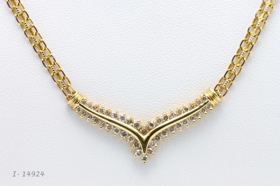 Westchester Gold14K Yellow Gold 1 CTW Round Diamond Chevron with Bismark Chain I-14924
