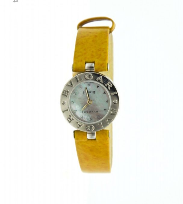 Ladies Stainless Steel Bulgari B. Zerol Yellow Leather Band with Box and Papers $750 I-16254