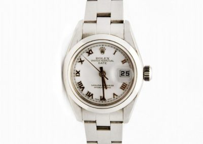 I 15620 whiteface Rolex date roman numberal silver